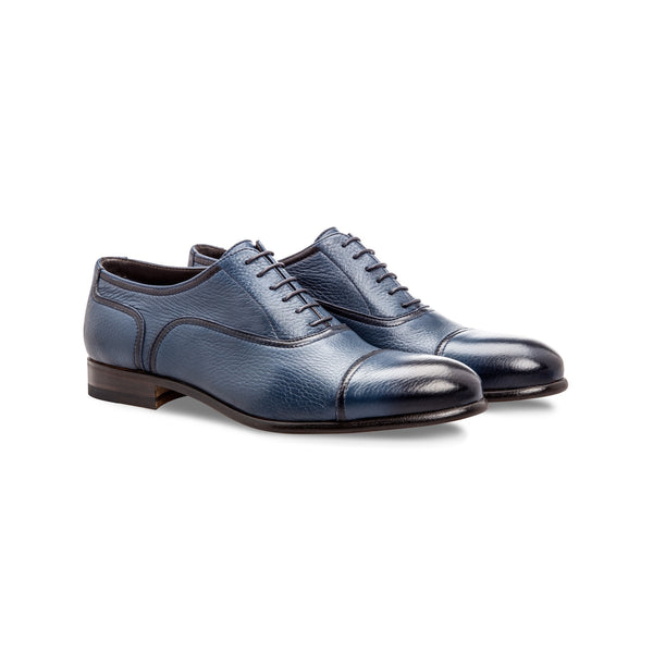 Blue deerskin Oxford shoes