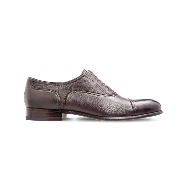 Dark brown deerskin Oxford shoes