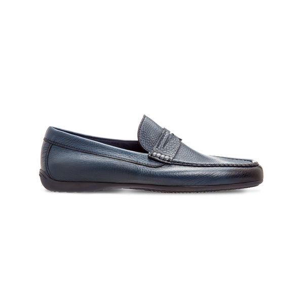 Blue deerskin loafer shoes