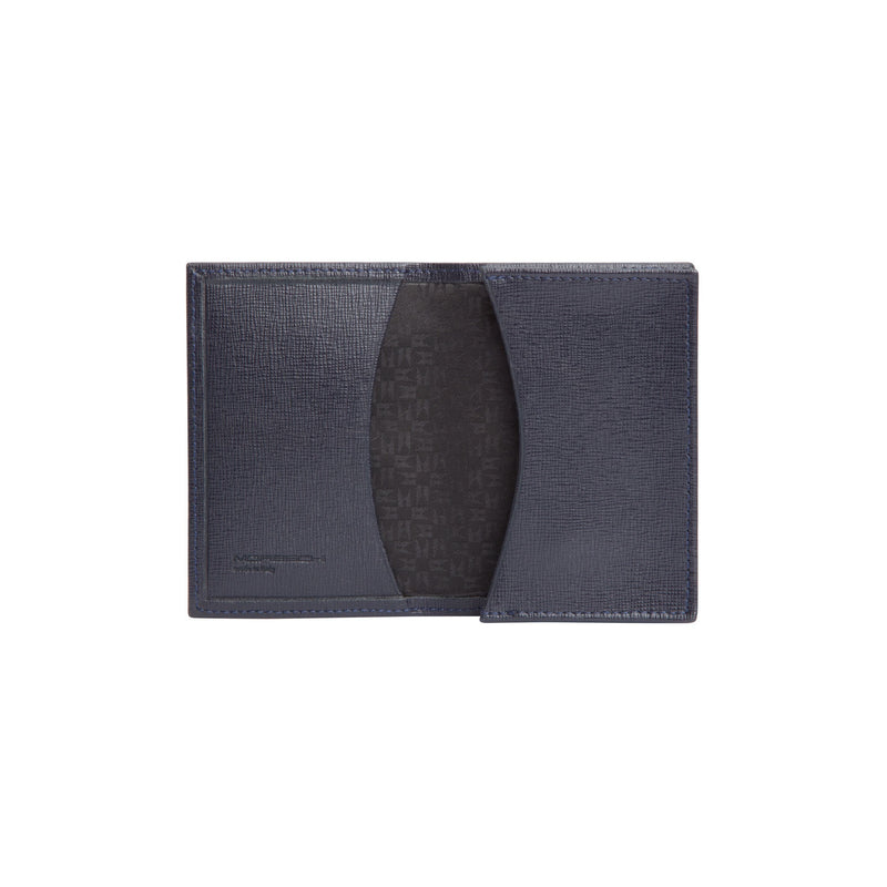 Blue printed leather business card holder