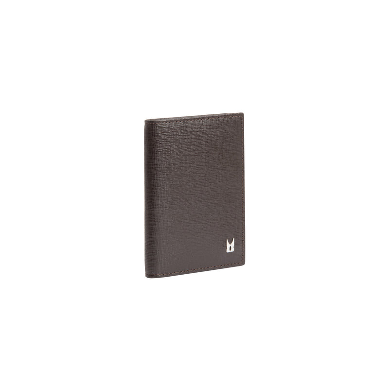 Dark brown printed leather business card holder