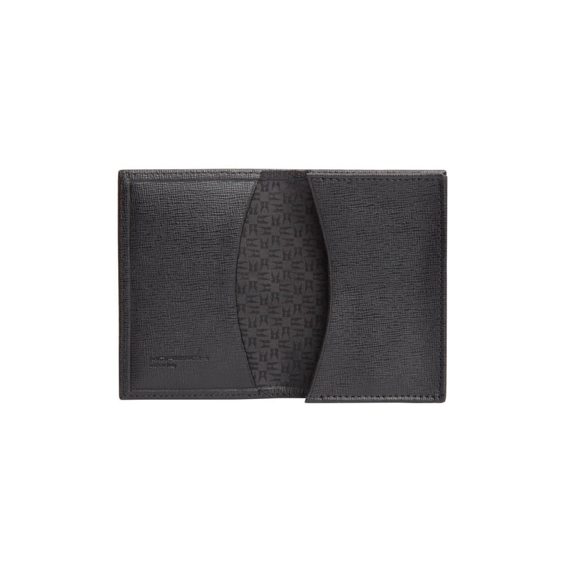 Black printed leather business card holder
