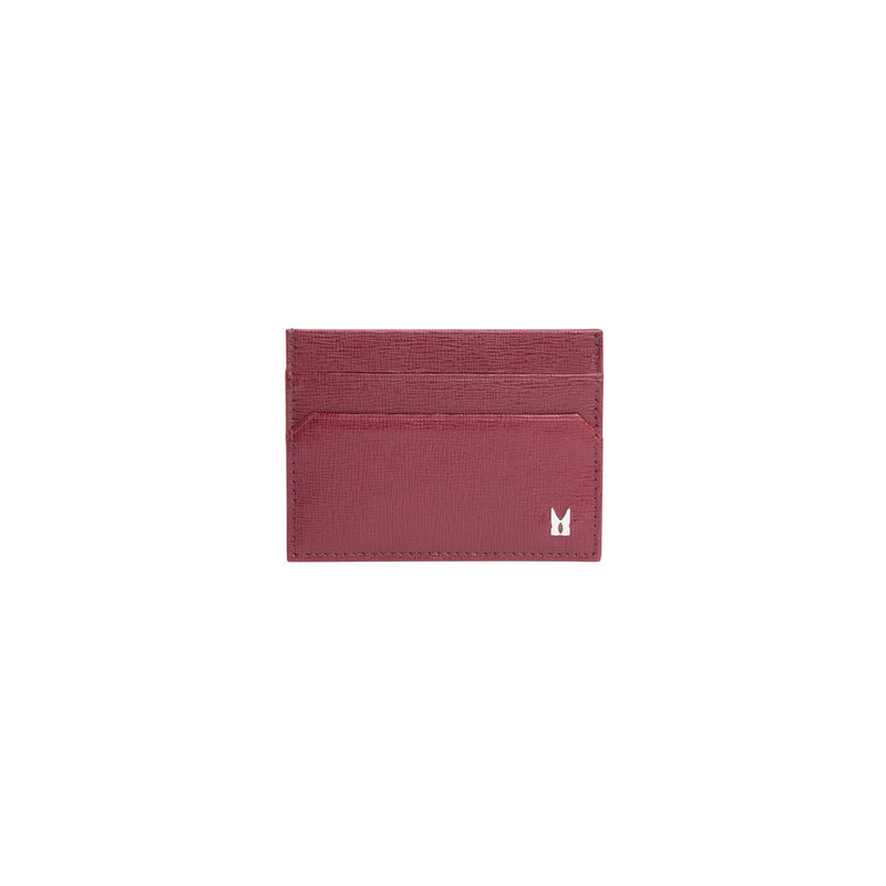 Burgundy printed leather credit card holder