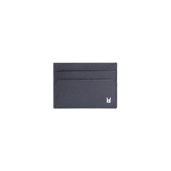 Dark blue printed leather credit card holder