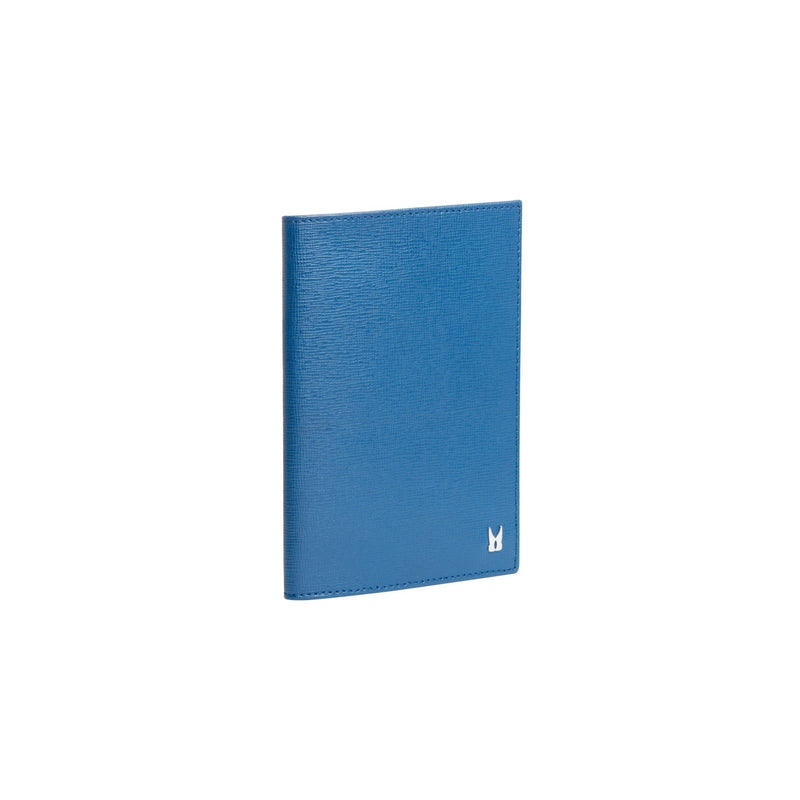 Blue Printed leather passport holder
