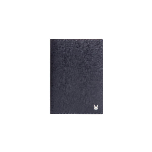 Dark blue printed leather passport holder