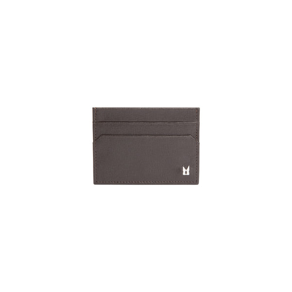 Dark brown printed leather credit card holder