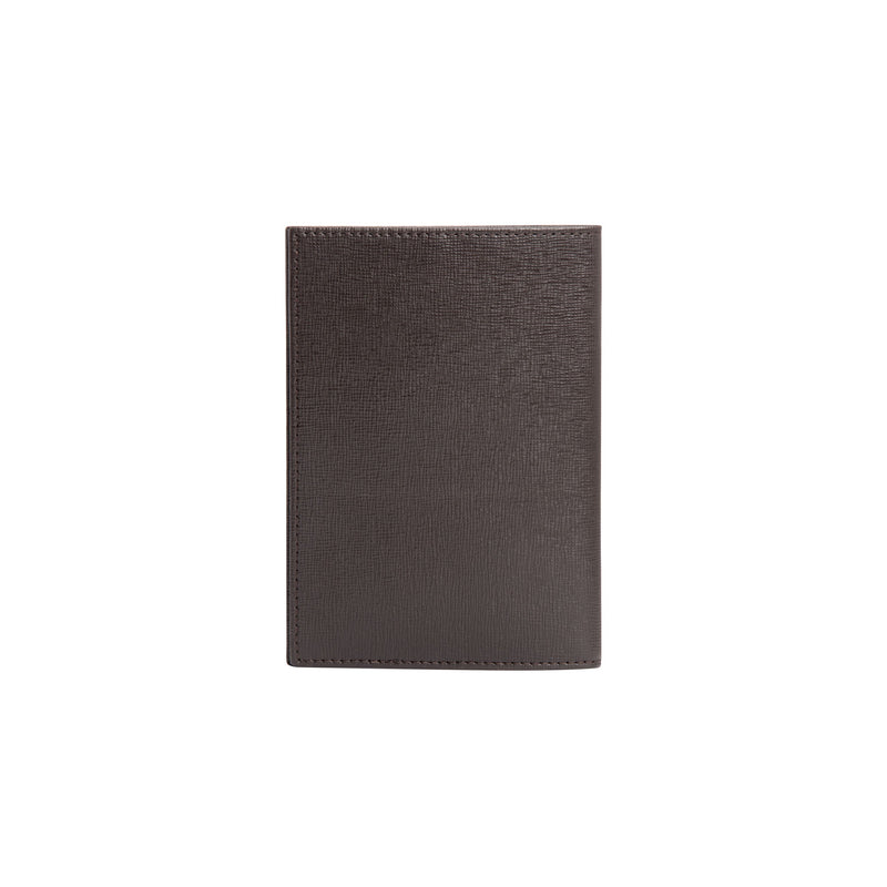 Dark brown printed leather passport holder