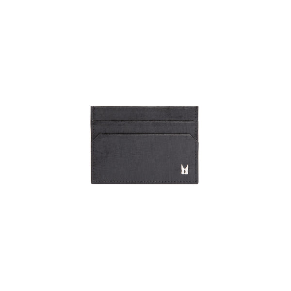 Black printed leather credit card holder