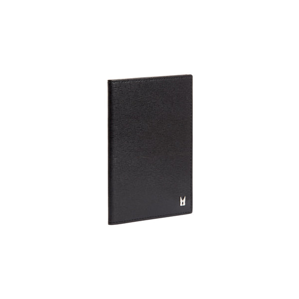 Black printed leather passport holder