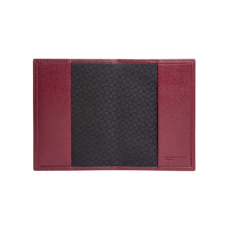 Burgundy printed leather passport holder
