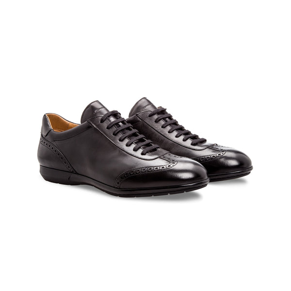 Black calfskin sneakers Moreschi  handmade italian shoes