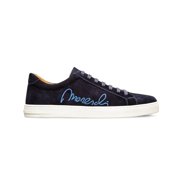 "Dark blue suede ""Signature"" sneakers Luxury italian shoes"