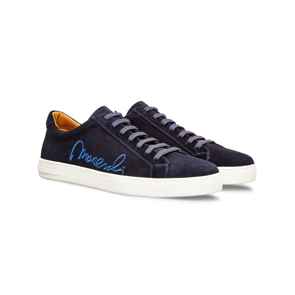 "Dark blue suede ""Signature"" sneakers Moreschi handmade italian shoes"