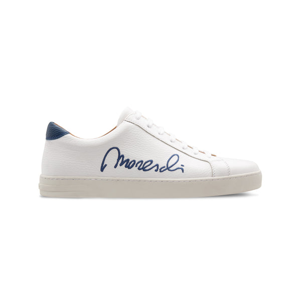 "White Deerskin blue ""Signature"" sneakers Moreschi Luxury italian shoes"