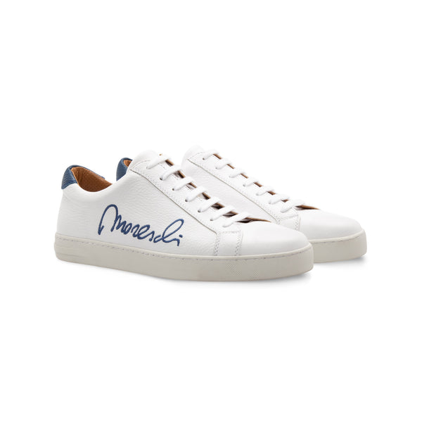 "White Deerskin blue ""Signature"" sneakers handmade italian shoes"