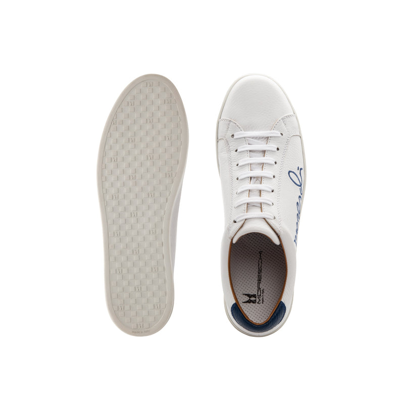 "White Deerskin blue ""Signature"" sneakers casual  italian shoes"