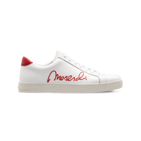 "White Deerskin red ""Signature"" sneakers"