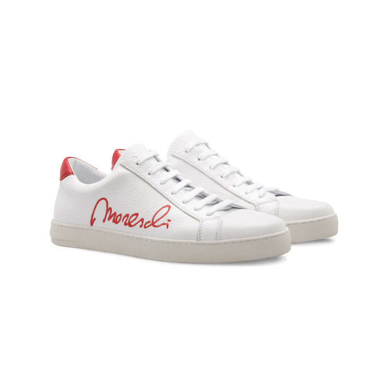 "White Deerskin red ""Signature"" sneakers Moreschi handmade italian shoes"