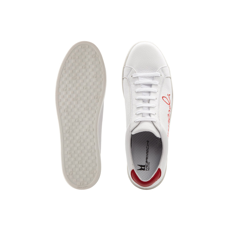 "White Deerskin red ""Signature"" sneakers casual handmade shoes"