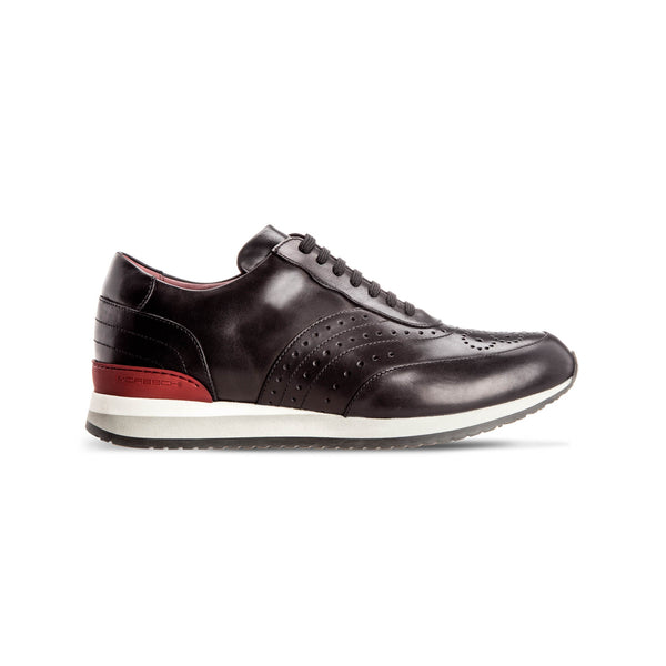 Black calfskin Brogue sneakers Luxury italian shoes