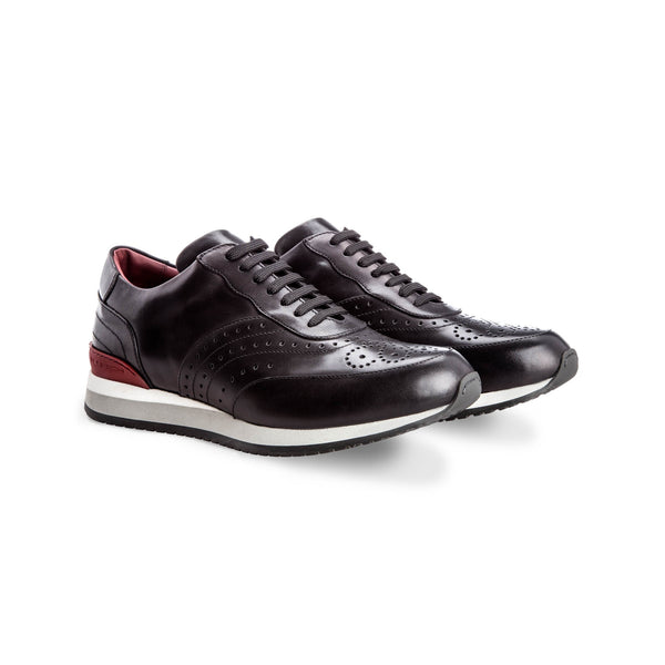 Black calfskin Brogue sneakers Handmade italian shoes