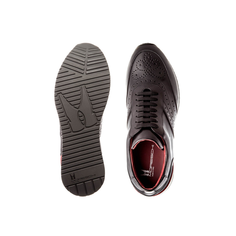 Black calfskin Brogue sneakers Classic handmade shoes