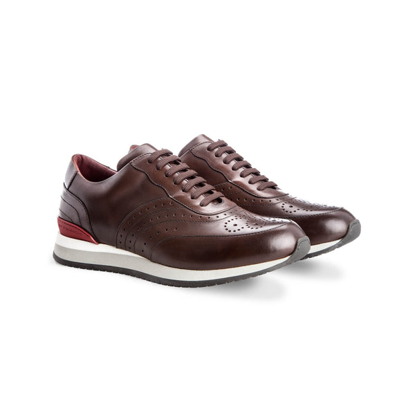 Brown calfskin Brogue sneakers