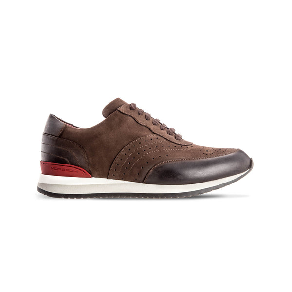 Brown suede leather Brogue sneakers Luxury italian shoes