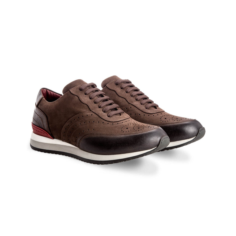 Brown suede leather Brogue sneakers Moreschi handmade italian shoes