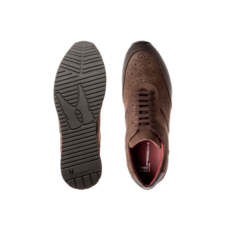 Brown suede leather Brogue sneakers casual  italian shoes