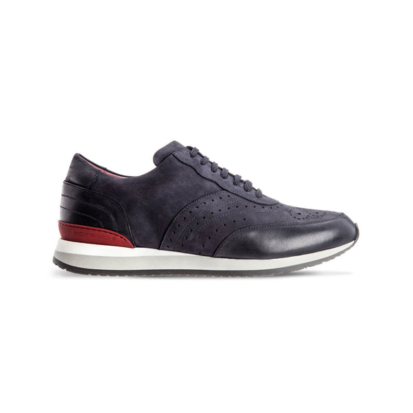Blue suede leather Brogue sneakers