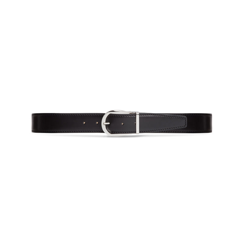 Black antiqued calfskin leather belt