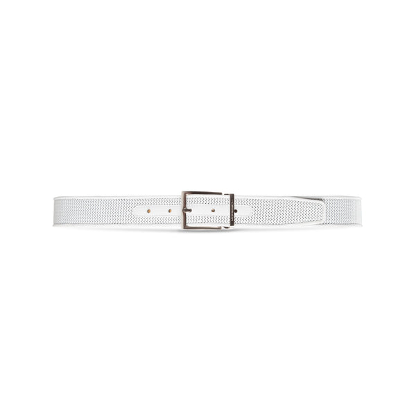 White perforated leather belt