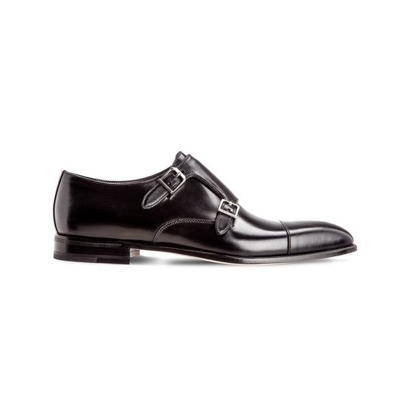 Black calfskin monk shoes Luxury italian shoes
