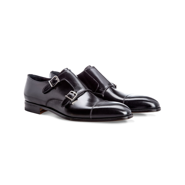 Black calfskin monk shoes Handmade italian shoes