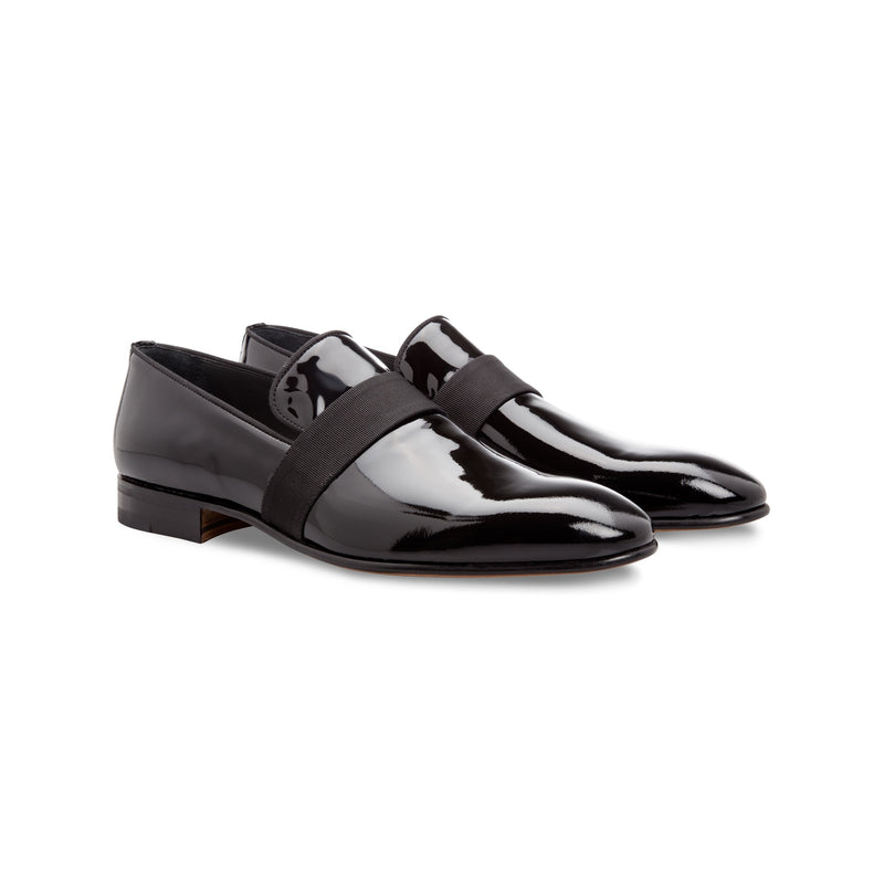 Black painted leather loafer shoes