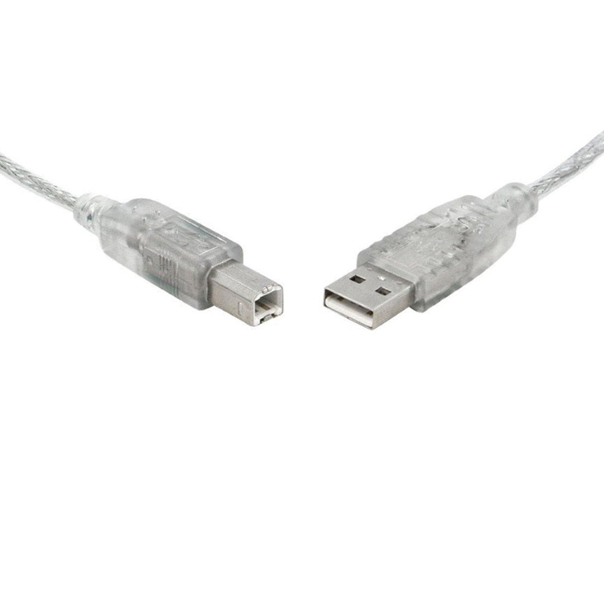 8Ware USB 2.0 Cable 5m A to B Transparent Metal Sheath UL Approved