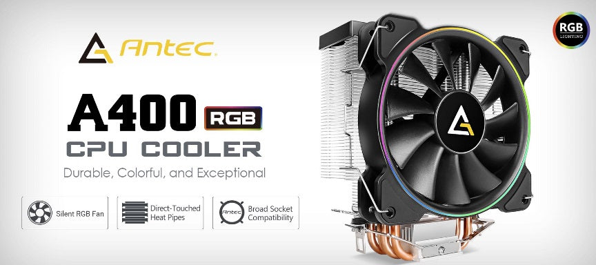 Antec A400 RGB CPU Air Cooler, Direct Heat-Pipies, Silent RGB 12CM PWM Fan, Broad Socket Support, Thermal Paste included. MTBF 50k Hrs, 3 Years Wty