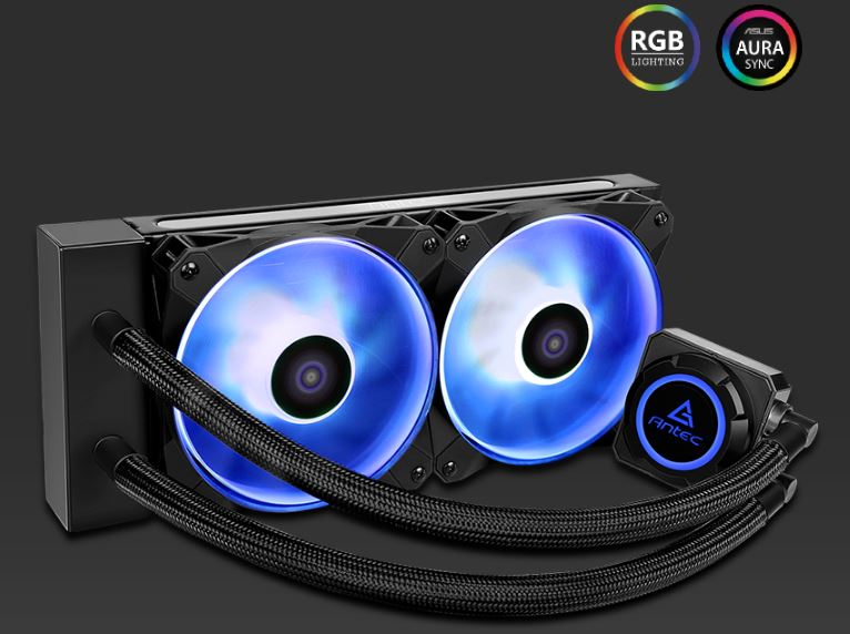 Antec Kuhler K240 RGB All in One CPU Liquid Cooler, LGA 2066, 2011, 115x AMx, FMx. 3 Yr warranty