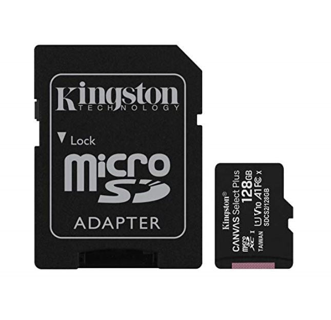 Kingston 128GB MicroSD SDHC SDXC Class10 UHS-I Memory Card 100MB/s Read 10MB/s Write with standard SD adaptor ~SDCS/128GB