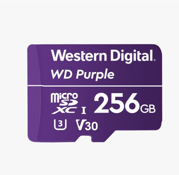 Western Digital WD Purple 256GB MicroSDXC Card 24/7 -25°C to 85°C Weather  Humidity Resistant for Surveillance IP Cameras mDVRs NVR Dash Cams Drones