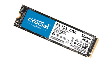 Crucial P2 500GB M.2 (2280) NVMe PCIe SSD - QLC NAND 2300/940 MB/s 300TBW 1.5mil hrs MTBF SMART  TRIM Acronis True Image Cloning 5yrs