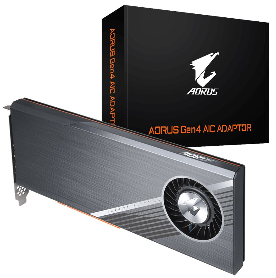 Gigabyte AORUS Gen4 AIC Adaptor - Easy One Click RAID by AORUS Storage Manager Full PCIe 4.0 Design Advanced Thermal Solution for PCIe 4.0 SSD