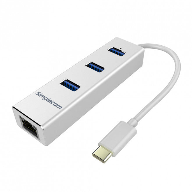 Simplecom CHN411 Silver Aluminium USB Type C to 3 Port USB 3.0 Hub with Gigabit Ethernet Adapter - CBAT-USBCLAN