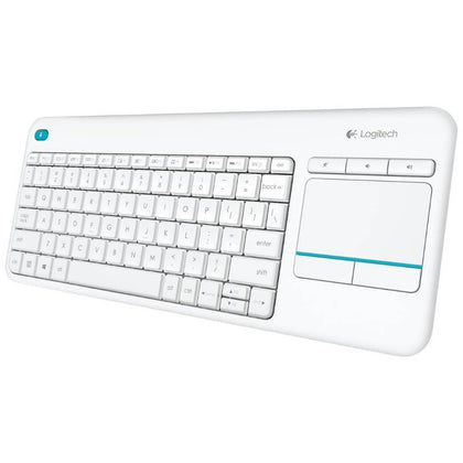Logitech K400 Plus White Wireless Keyboard with Touchpad  Entertainment Media Keys Tiny USB Unifying receiver for HTPC connected TVs ~KBLT-K830BT(LS)