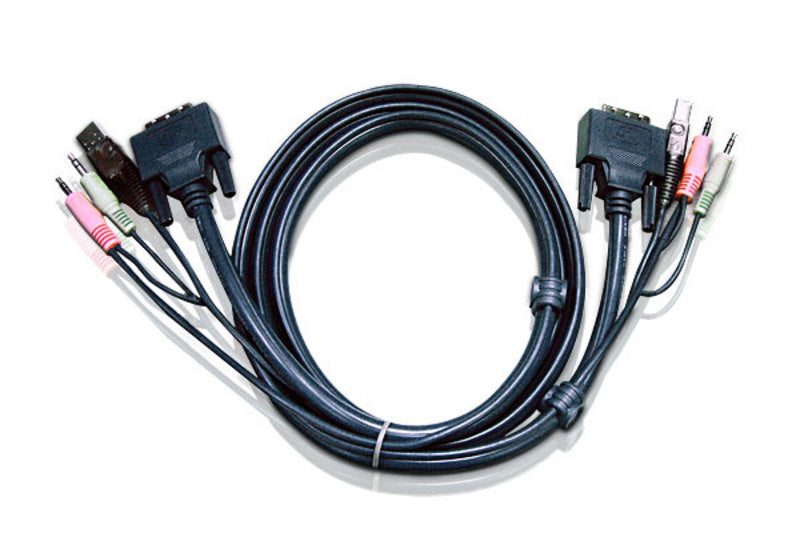 Aten 3.0m DVI-D (Dual Link) Male to Male with USB Type A Male to Type B Female, 3.5mm Stereo Audio  Mic Cable