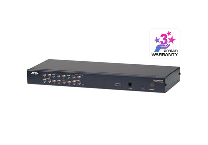Aten 1-Console High Density Cat 5 KVM 16 Port with Daisy-Chain Port, supports 1920x1200 up to 30m on supported adapters, KVM Adapters not included
