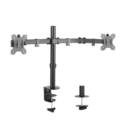 Brateck Dual Screens Economical Double Joint Articulating Steel Monitor Arm fit Most 13''-32'' Monitors Up to 8kg per screen, 360°Screen Rotation