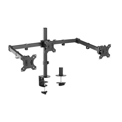 BrateckTriple Screens Economical Double Joint Articulating Steel Monitor Arms, Extended Arms  Free Rotated Double Joint,Fit Most 13